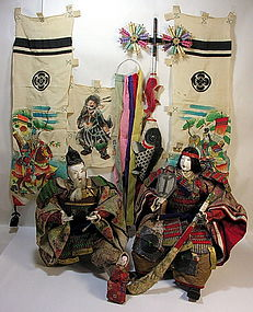 EDO Antique Japanese MUSHA Samurai Ningyo Doll Set
