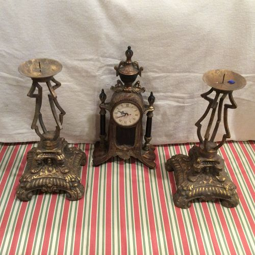 Decorative Mantle Set with clock and candle holders.