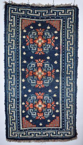 Tibetan 3 Medallion Rug, Tibet, 19th c.