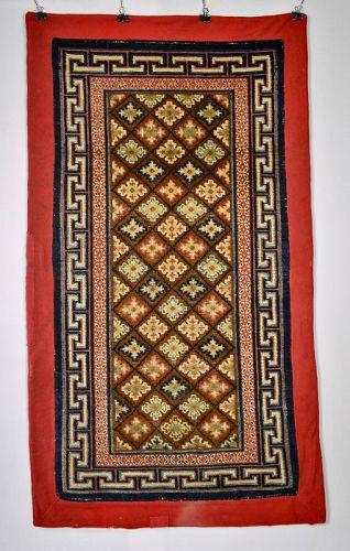 Antique Tibetan Rug Lattice Pattern