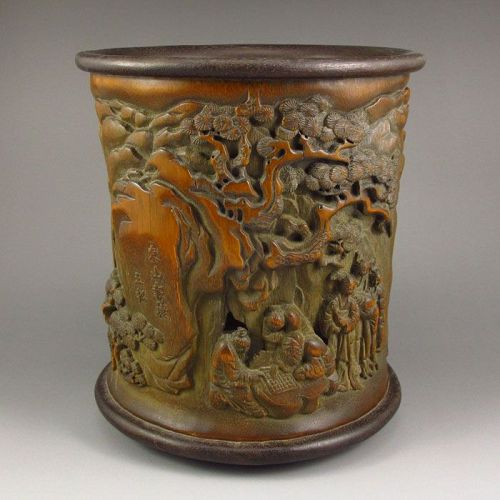 Bamboo Carved Brush Pot Early 20C