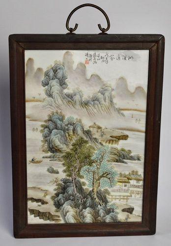 Zhang Zhitang Landscape Porcelain Plaque, Republic Period