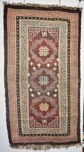 Tibetan Medallion Sleeping Rug, Tibet, Early 19th C.