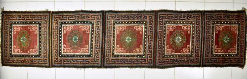 19th century TIBETAN 5 SQUARE MONASTERY MEDITATION RUNNER