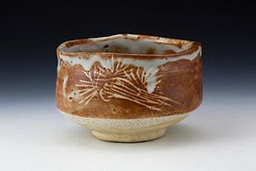 e-Shino Chawan by Kato Kageaki - w Signed Tomobako