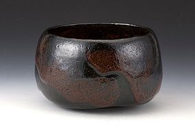 Superb Black Raku Chawan by Sasaki Shoraku III