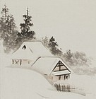"""Village in Winter"" Hanging Scroll by Ōtagaki Rengetsu"