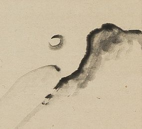 """Autumn Moon"" Hanging Scroll by Ōtagaki Rengetsu"