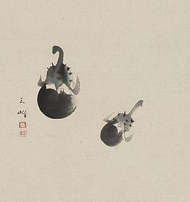 """Eggplant"" Hanging Scroll By Ōtagaki Rengetsu (Gassaku)"