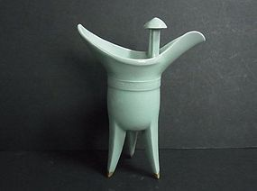 A Rare Celadon Tripod Ritual Wine Vessel (Jue) by Suwa Sozan
