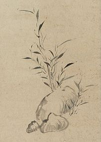 """Young Bamboo"" Hanging Scroll by Ōtagaki Rengetsu"
