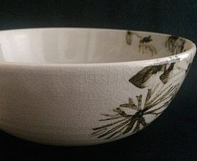 Porcelain Bowl with Hand-Painted Chrysanthemums by Seifu Yohei IV
