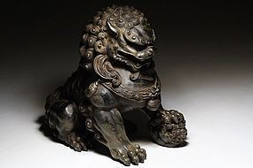 Pair of Chinese Stone Guardian Lions, (A)