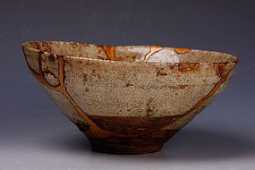 Edo Period Seto-ware Chawan with Gorgeous Kintsugi Repairs
