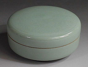 A Celadon �Nikuchi� Seal Paste Box by Suwa Sozan the First