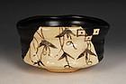 A Kuro Oribe Chawan by Kato Takeshi