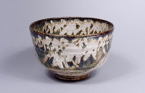 White Seto-ware Chawan with Stylized Bamboo Fronds (+ Shifuku)
