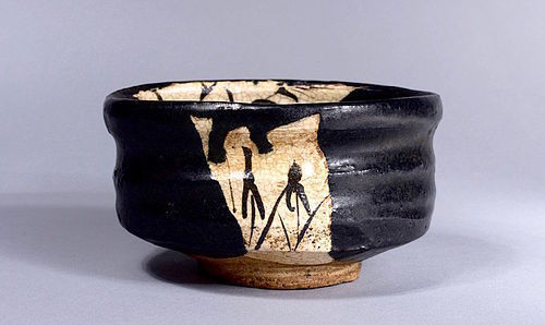 A Beautiful Kuro Oribe Chawan from Early Edo