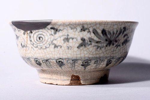 Annan Tea Bowl with Chrysanthemum & Silver Repair