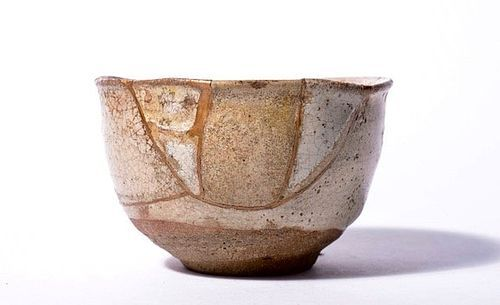 An Edo Period Madara Karatsu-ware Tea Bowl w/ Gold Repair
