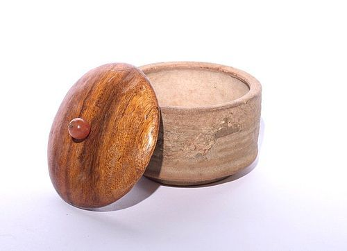 An Antique Seto Koro (Censer) with Wood Lid