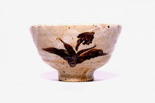 Tobe-ware Ido-gata Tea Bowl with Painted Orchid by Sakai Yoshito