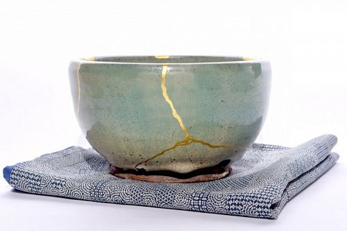 Edo Period Celadon Bowl with Ornate Gold Repairs
