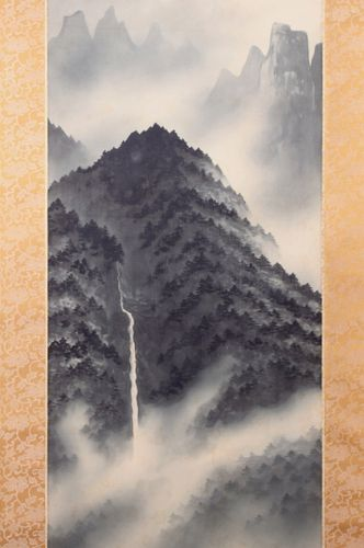 Waterfall Landscape Painting by Genjin Sugihara