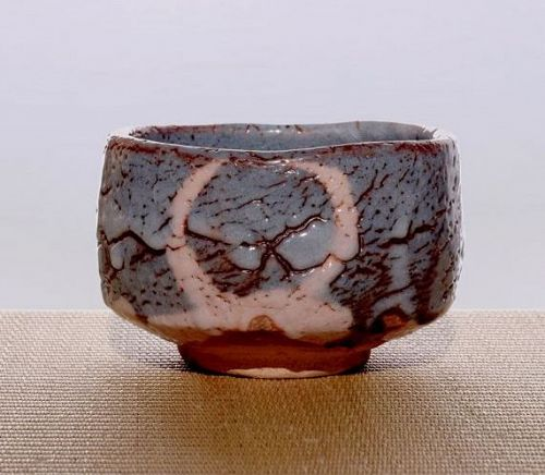Nezumi Shino Tea Bowl with Enso by Takuzo Mizuno
