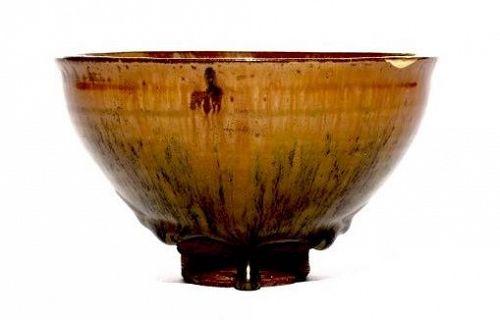 A Beautiful Antique Tenmoku Tea Bowl with Kintsugi Gold Repair