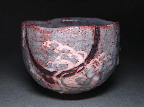A Nezumi Shino Tea Bowl by Wakao Toshisada