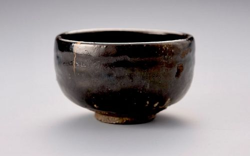 A Kuro-Raku Tea Bowl w/ Gold Repair by Eiraku 11