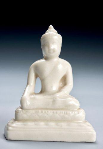 A Small Porcelain Seated Bodhisattva by Suwa Sozan