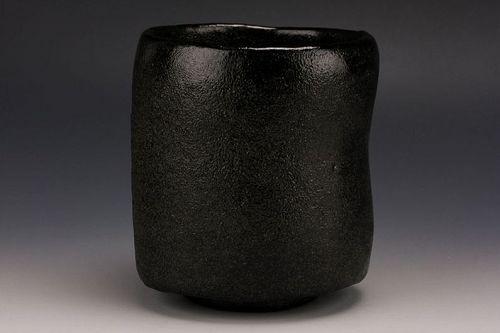 Black Raku Tsutsu Tea Bowl by Sasaki Shoraku