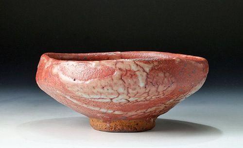 A Shino Summer Tea Bowl by Ajiki Hiro