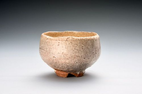 Hagi tea bowl by Yoshida Shuen - with poetic name �Matsu-kaze�