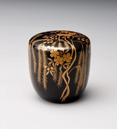 Lacquer and Gold Painted Natsume Tea Caddy by Wakashima Takao