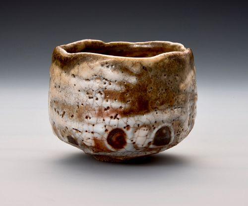 A Shino Tea Bowl by Sada-aki Kido with Poetic Name �Hon-wa-furi�