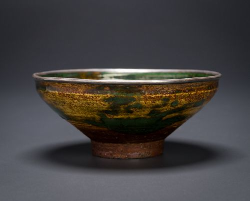 An Edo Period Tenmoku Tea Bowl with Lacquer box and Silk Pouches