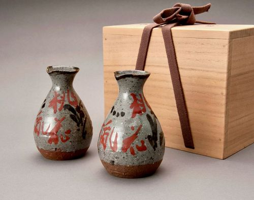 A Set of Painted Tokkuri by Living National Treasure Yuzo Kondo