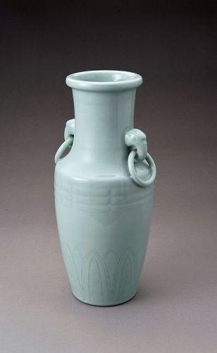 A Ring Handled Celadon Vase by Suwa Sozan (1852 - 1922)