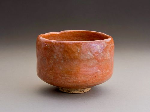 A Red Raku Tea Bowl by Ryônyû  IX (1756 - 1834)