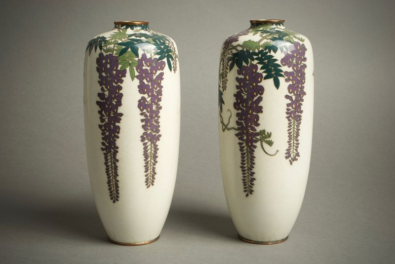 A Japanese cloisonnè vases worked in silver wire