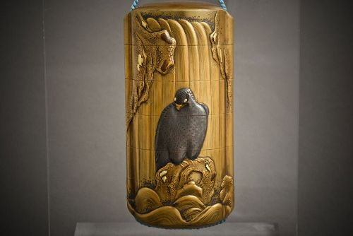 A Japanese lacquered Inro of a Hawk
