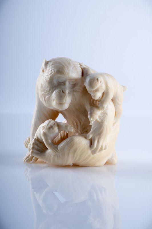 A Japanese okimono of a macaque