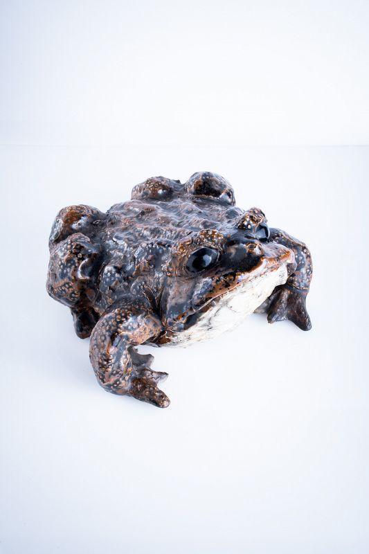 A Japaese okimono of a toad