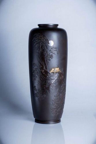 A Japanese bronze vase