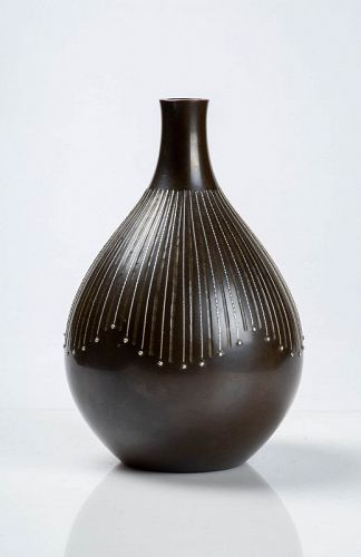 Kankei - A Japanese bronze and silver vase