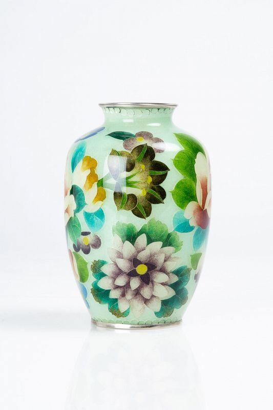 A Japanese plique-à-jour vase