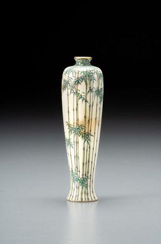 Kinkozan - A Japanese Satsuma bamboo vase